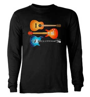 2 Guitars, electric, acoustic bass, tshirt